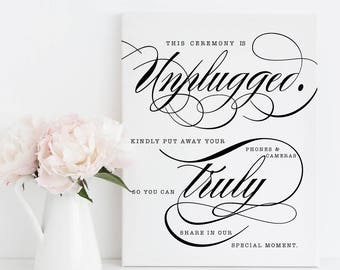 Printable Wedding - Unplugged Ceremony Sign - 5 sizes included - No phones No cameras