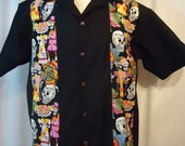 Mexican Day of the Dead Panel Shirt with   Men's Small up to 6XL