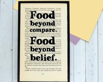 SUMMER SALE Les Misérables - Kitchen Wall Art - Kitchen Art - Kitchen Decor - Food Art - Food Lover Gift - Book Page Art - Food Beyond Compa