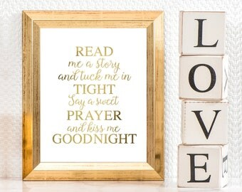 printable art read me a story in faux gold baby girl wall art quote saying nursery decor download, typography goodnight prayer girls bedroom