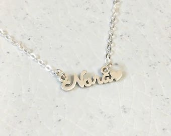 Custom Name with Heart Necklace • Dainty Name Necklace • Personalized Name Necklace • Bold Cursive font style • Bridal Jewelry