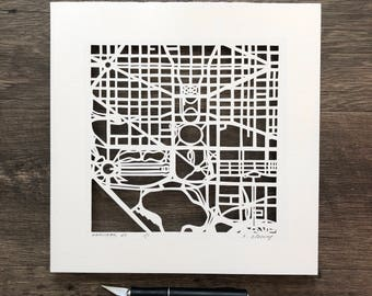 Washington, DC Hand Cut Map ORIGINAL