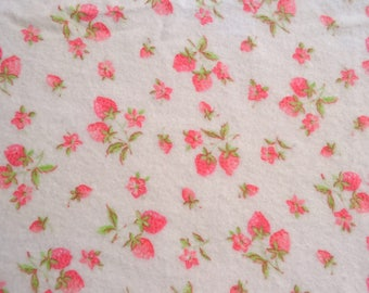Vintage Flannel Fabric - Pink Strawberries on Light Pink