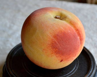 Vintage Stone Fruit - Hand Carved Marble Peach with Wooden Stem - Italy - Old Patina Realistic