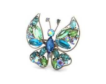 Vintage Trembler Butterfly Rhinestone Brooch, Blue Green Figural Bug Pin, 1960s Costume Jewelry