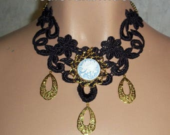 Necklace in Black with Blue Rose Bunch Gold Teardtops Unique Venise Lace Choker NEW by Medievaltomodern Wearable Art Runway Style