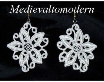 White Wedding Flower  Venise Lace Victorian Bead Earrings Large