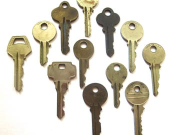 Key collection 12 keys Vintage stamping keys Antique keys DIY Stamping key Old keys for stamping Blank keys Blank side Stampable A1 BK #6A