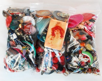 Colorful Chaos, 3 Bags Broken Vintage Costume Jewelry / Craft Supplies, Single Earrings, Beads, Rainbow, Buttons, Mixed Destash, Large Lot