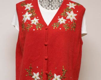 Vintage red Women's ugly Christmas sweater vest with poinsettias  size extra large by Studio Joy
