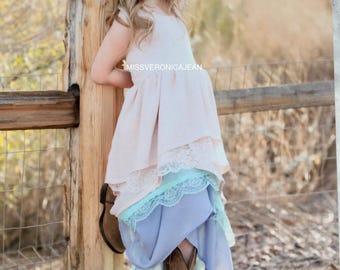Pastel Unicorn Ruffle Dress pastel bohemian layered girls dress boho flower girl rustic junior bridesmaid toddler maxi h