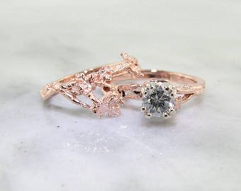 Maple Leaf Wedding Set, Rose Gold and Half Carat Diamond
