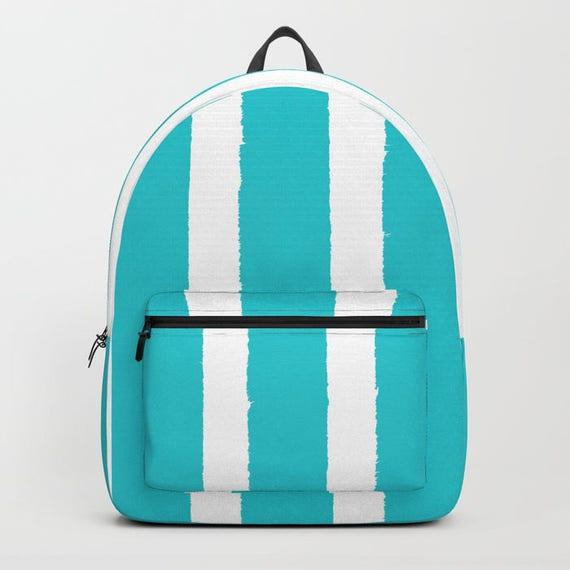 Aquamarine and White Stripe Backpack bookbag Aqua backpack Cyan White bookbag Kids backpack backpack Modern school bag Striped backpack