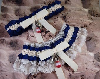 Fishing Navy Blue LInen look Ivory Twill Ivory lace Fish Bobber Charm Wedding Bridal Garter Toss Set