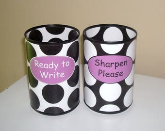 Black and White Polka Dot and Chevron Desk Accessories - Tin Can Pencil Holder with Labels - Classroom Organization - Teacher Gift - 1007