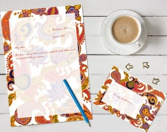 Paisley of '71 'print your own' letter writing paper set - white and orange