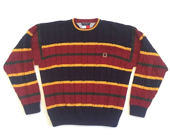 Tommy Hilfiger striped cableknit sweater with crest XL