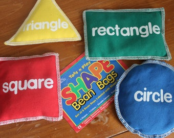 Learning Resources Vintage Shape Bean Bags, Circle, Square, Rectangle and Triangle, Canvas, Pellet Filled, Instructions