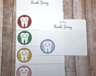 Tooth Fairy A2 Flat Note Cards - Mix and Match or Single Color (Choose your envelope color) (Set of 10)