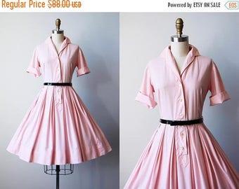 ON SALE 50s Dress - Vintage 1950s Dress - Pastel Pink Cotton Full Skirt Shirtwaist M - Petaluma Dress