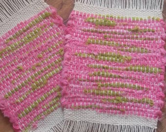 Flamingo Kiwi Tropical Woven Mug Rug recycled textile Art Eclectic style Coasters  - sold as a pair!