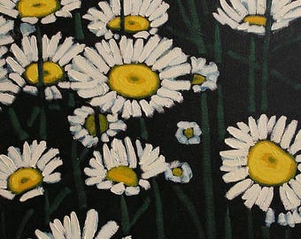 White Flowers, Decorative Original Oil Painting, Colorful and Relaxing