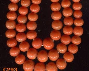 Antique Natural Mediterranean Salmon Round Coral  Beads, Good Color C293