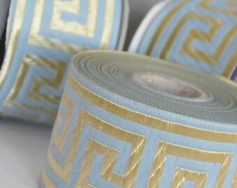 Turquoise   and Gold  Greek Key Jacquard  Ribbon  Trim