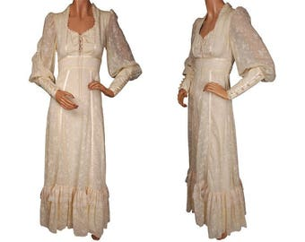 Vintage 1970s Gunne Sax by Jessica Voile Cotton Maxi Dress - Cream White - S