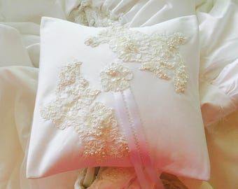 Ring Bearer Pillow, made from moms wedding dress, Vintage wedding accessory