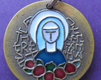Vintage Religious Medal Saint Theresa Of The Child Jesus Modernist French Bronze And Enamel Catholic Pendant SS424