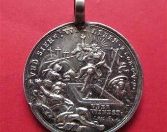 Easter Antique German Silver Religious Medal Crucifixion Resurrection Pendant Nurenberg Circa 1770  SS150