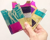 Metallic Hand Printed Recycled Leather Mini Wallet Travel Card Holder