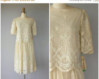 48 HR FLASH SALE Vintage 70s Lace Dress   1970s Dress   70s Skirt Set   1970s Cotton Lace Dress   70s Cropped Skirt Set   70s Day Dress   19