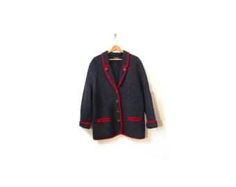 30% OFF Vintage 80s Oversized Sigi Scheiber Minimalist Coal Gray & Red Boiled Wool Button Up Sweater Coat women m-xl 42  vestiesteam preppy