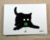 Black Cat Finds a Clover - Sammy the Cat Illustrated Blank Greeting Card