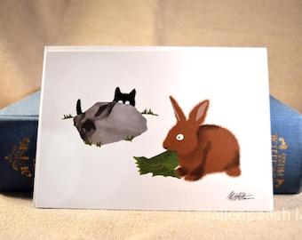 Black Cat Meets a Bunny Rabbit - Sammy and Zippy Von Tulip Blank Illustrated Greeting Card
