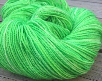 No Scurvy - Bag of Limes Hand Dyed Acid Lime Green Sparkle Sock Yarn Hand Painted sockyarn 463 yards superwash merino fingering weight swm