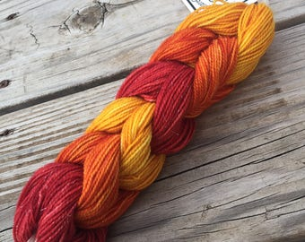 Mini Skein Chain set of 6 Hand Dyed red orange yellow sparkle miniskeins Hand Painted Sock Yarn 28 Yards Superwash Merino Nylon Sparkle Toes