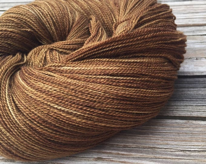 hand dyed lace weight yarn Walk the Plank brown Silk Treasures Lace yarn merino silk 875 yards hand dyed yarn chocolate brown