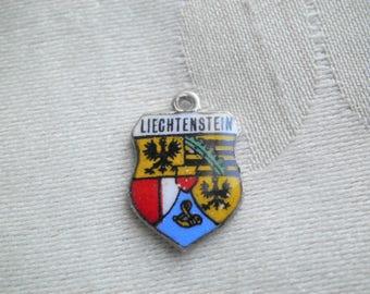 Vintage Antiko 100 Enamel Liechenstein Travel Souvenir Shield Charm