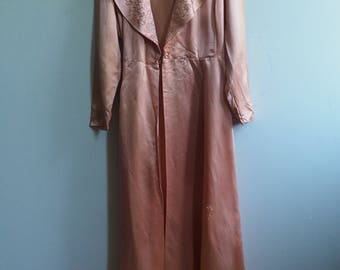 Pink Satin Old Hollywood 1930s 1940s Ribbonwork Robe Nightgown Lingerie
