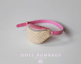 Creme Brulee no5 - bum bag - miniature fashion for dolls - Blythe Licca Pullip Dal - handmade doll accessories by MissFelix