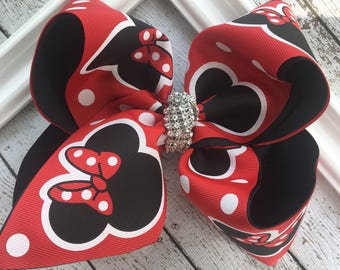 """Extra XXL Large Texas Sz Minnie Mouse Disney Character Sequin Center Girls Hair Bow 3"""" Ribbon ~ Red Black 6"""" Layered Bow BIG Bowz Custom Bow"""