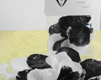 Black Tie Petal Soaps -Individual Rose Petal Soaps - Glycerin Soaps - Wedding Favor - Guest Soap - Black and White Soap Petals