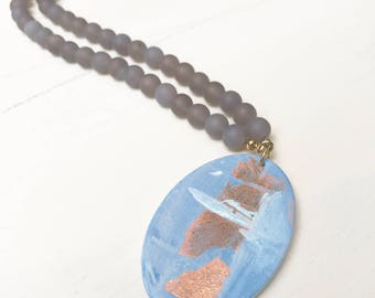 Painted Pendant Necklace - Grey Agate Beaded Necklace with Acrylic Painted Pendant by Lindsay Ghata
