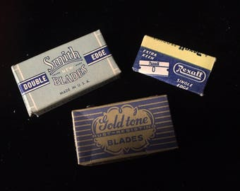 Vintage Razor Blades  - 1940s - Smith Blades, Gold Tone and Rexall