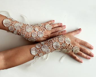 Gold Bridal Fingerless Gloves, Guipure Lace Wrist Cuff Charms, Evening Dress Costume Accessories, Modern Wedding Handlet, Limited