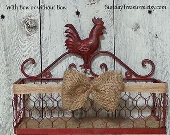 Red Rooster Rectangle Chicken Wire Basket / French Country Wall Decor / Shelf Decor Farmhouse Table Top Centerpiece / Chicken Wire /