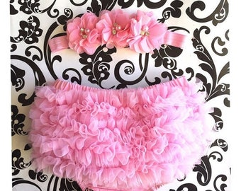 SALE Pink Baby Bloomer and Headband Set. Chiffon Ruffle Bloomer. Baby Girl Headband, Ruffle Bloomer. Bloomers. Newborn Bloomers. Ready to sh